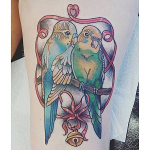 Tattoo I got of my two Budgies